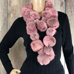 Kenneth Cole | Rabbit Fur Pom Pom Scarf Black Pink